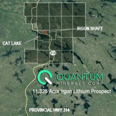 Quantum Minerals Corp 11325-Acre Irgon Lithium Prospect