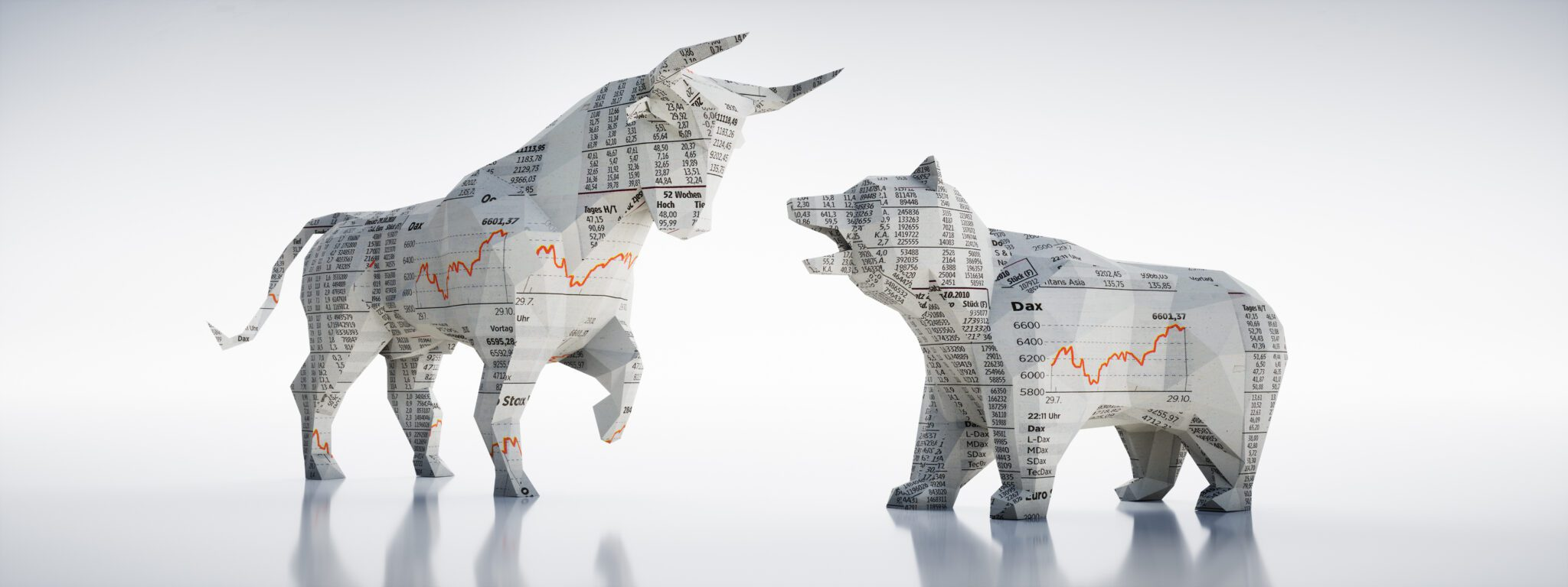 Bull and bear depicted in the best bank stocks cartoon.